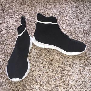 Bar III Black And White Slip On Sock Sneakers